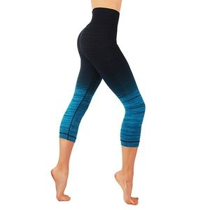 Pants - Ombre leggings dry fit workout pants teal